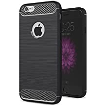 Coque iPhone 6 Plus ,2ndSpring Shock Absorbing TPU Étui Noir Silicone Gel Etui Housse iPhone 6s Plus Souple Coque de Protection pour iPhone 6 Plus / 6s Plus Fibre de Carbone Cover