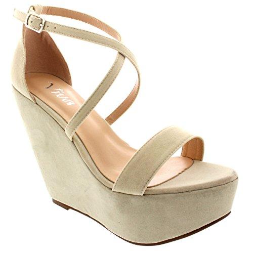 Donna Zeppa Piattaforma Partito Caviglia Cinghia Trasversale Tacco Alto -