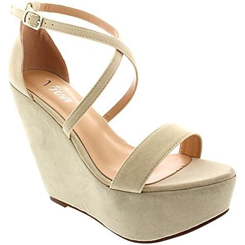 Donna Zeppa Piattaforma Partito Caviglia Cinghia Trasversale Tacco