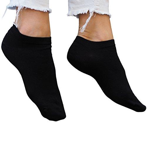 ALL ABOUT SOCKS 5er Pack Sneaker Socken schwarz 35-38 Damen   35 kurze Socken 36 kurze Sneakersocken 37 Schwarze Füßlinge 38