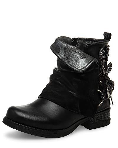 Caspar SBO089 Damen Vintage Boots mit Gamaschen, Farbe:schwarz, Größe:39 EU Vintage Boot