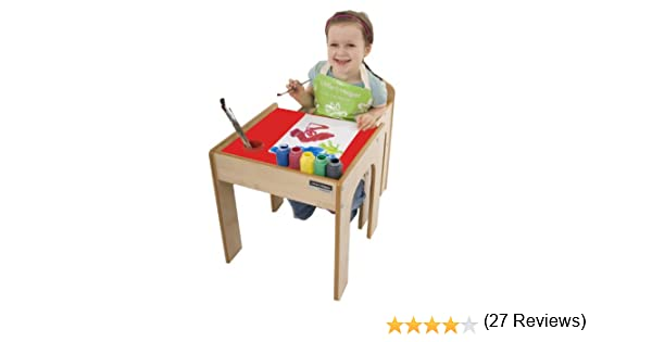 Little Helper FunStation Ensemble Bureau//Chaise pour Enfant avec Pot /à Crayon//Pinceau Rouge//Naturel 12 Mois+