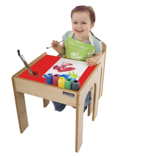 Little Helper en semble Bureau et Chaise en Bois pour Enfants avec Pot à Crayons/Pinceaux Funstation de Little Helper Rouge