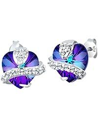 Elli Damen-Ohrstecker Herz 925 Sterling Silber Swarovski Kristall Brillantschliff 301840913