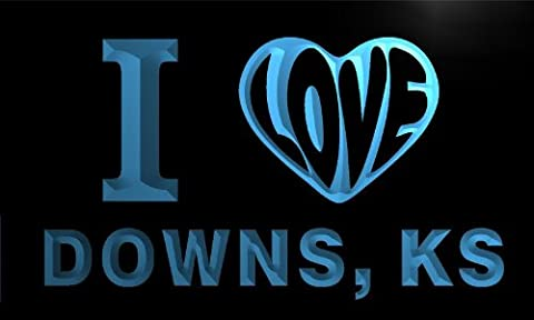 v56140-b I Love DOWNS, KS KANSAS City Limit Neon Light Sign