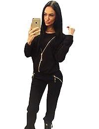 Nueva mujer 2piezas negro cremallera detalle traje de sudor pantalones Suit Chándal ropa de club wear Casual talla S UK 10UE 38