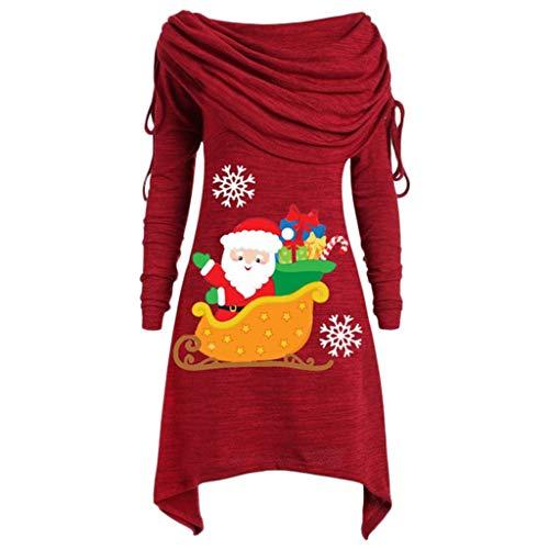 LOPILY Weihnachtspullover Damen Unregelmäßig Rollkragenpullover Schulterfrei mit Santa Claus Druck Asymmetrisch Wasserfallshirts Damen Große Größen Schneemann Fleecepullover (Rot, 3XL)