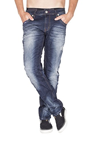 BLUE MONKEY Herren Jeans Slim Fit Destroyed Asa-2018 Blau