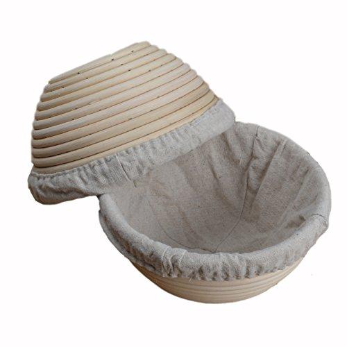 Cestino banneton rotondo in legno rattan per la lievitazione del pane, diametro 18 cm, con rivestimento in lino, 2 pezzi, prodotto nel regno unito