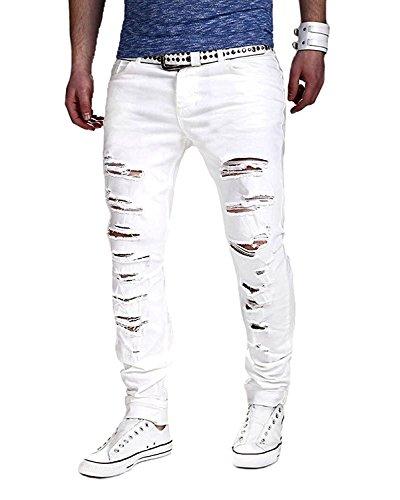 Minetom elasticizzati da uomo strappati jeans taglio straigh pantaloni skinny mode casual sguardo distrutto patchato stile (eu l, bianco)