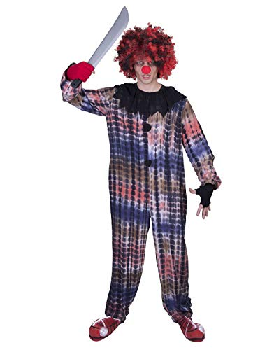Karnevalsbud - Herren Männer Kostüm Creepy Horror Clown Onesie Ganzkörper-Kostüm, perfekt für Halloween Karneval und Fasching, One Size, Mehrfarbig