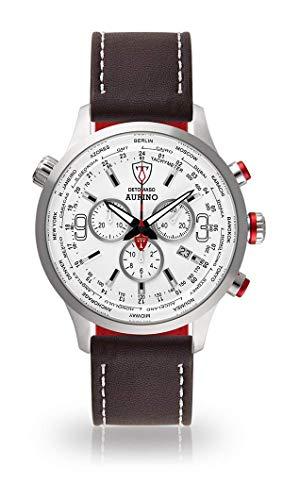 DETOMASO AURINO Herren-Armbanduhr Chronograph Analog Quarz Silbernes Edelstahl-Gehäuse Weißes Zifferblatt (Leder - Braun (Naht: Weiß))