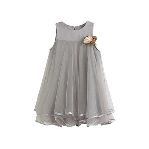 Amlaiworld Mädchen Mode locker Kleider Sommer Baby niedlich Blumen Kleid Hochzeit festlich Party Faltenrock Ärmellos Kleinkind Prinzessin Tütü Kleidung, 2-7 Jahren (3 Jahren, Grau)