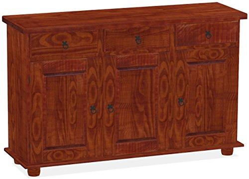 Brasilmöbel Sideboard, Pinie Massivholz, geölt und gewachst Mahagoni, L/B/H: 129 x 40 x 83 cm