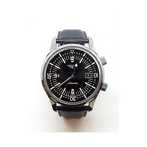 Longines Heritage Homme 42mm Automatique Noir Cuir Bracelet Montre L36744500