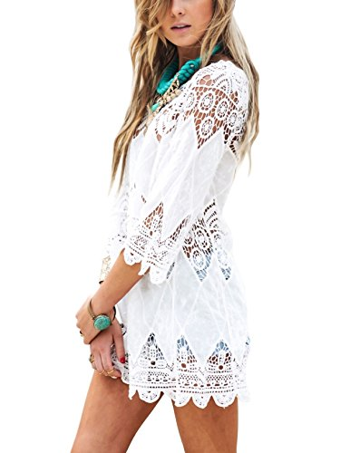 Strandkleid Damen Kurze Kleid Badeanzug Bikini Spitze Crochet Cover Up (Weiß, M)