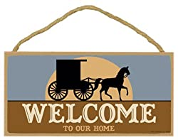 "Welcome To Our Home (Amish Buggy & Horse With Sunrise) 5"" X 10"" Pvc Plaque Sign"