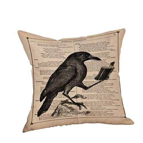 "VEMOW Happy Halloween Kissen Hom Party Dekoration Fällen Crow Leinen Sofa Kissenbezug Home Decor 18"" x18(O, 18""x18"" (Approx 45cm*45cm))"