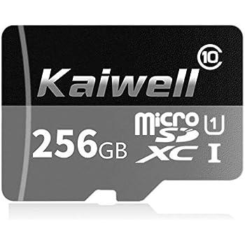 Kaiwell - Tarjeta de Memoria microSDXC de 256 GB con Adaptador SD Class 10, Resistente al Agua