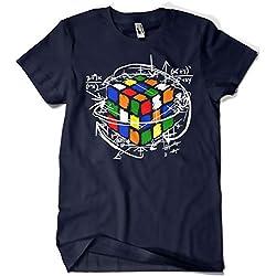 Camisetas La Colmena 4189-Rubikcube (M, Marino)