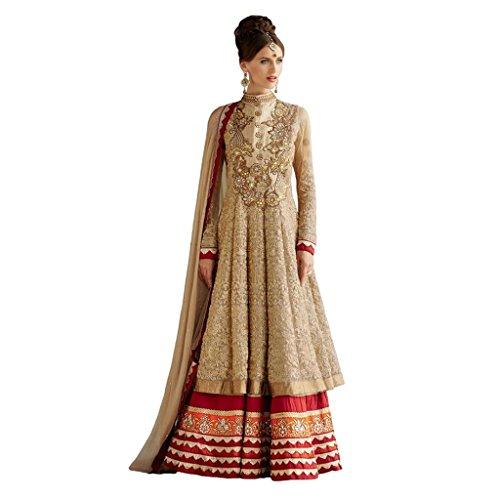 Tanquil Women's long length Anarkali Suit (KKDK1006_Beige)