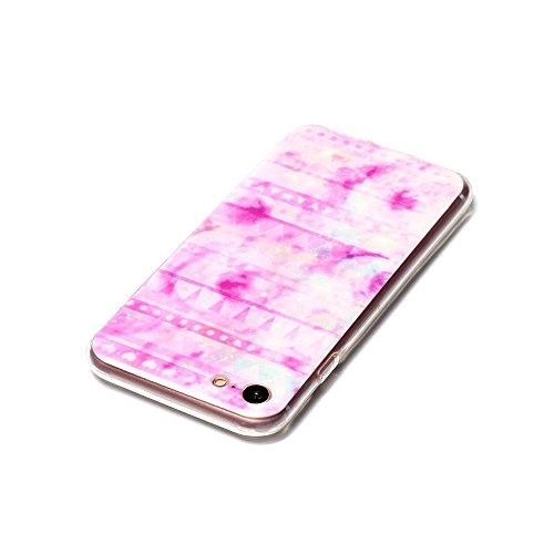iPhone 7 Hülle, SHUNDA Ultra Dünn Schutzhülle Weiche TPU Silicone Stoßstangen Handyhülle Abdeckung Rückschale Case cover für iPhone 7 (4.7 inch) - Weiß Marmor Rosa Muster