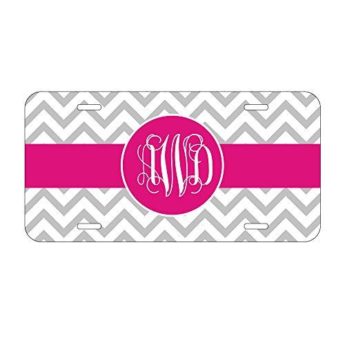 License Plate Cover Front (Gravur Auto Nummernschild Rahmen Pink und Grau chevron alunimum Auto Tag Personalisierte Nummernschild Schild)