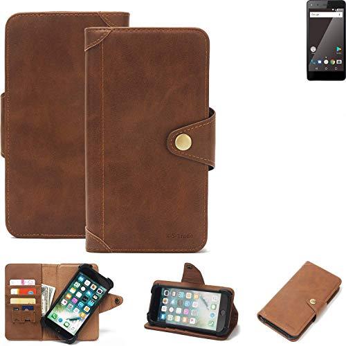 K-S-Trade® Handy Hülle Für Blaupunkt SL 01 Schutzhülle Walletcase Bookstyle Tasche Handyhülle Schutz Case Handytasche Wallet Flipcase Cover PU Braun (1x)