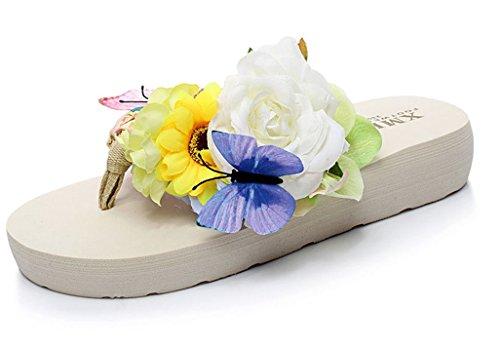 Sandales D'été Des Femmes Bon Augure D'été Anti-dérapant Tongs De Plage Avec Fleur Beige Et Papillon