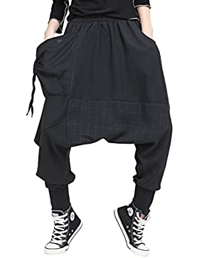 ELLAZHU Women Fashion Elastic Waist Baggy Drop Croych Black Casual Harem Pants GY1529 A