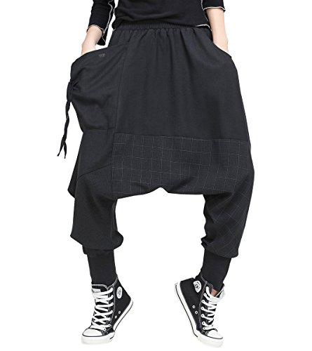 ELLAZHU Damen Mode Elastisch Taille Baggy Drop Crotch Schwarz Freizeitkleidung Haremshosen GY1529 - Schwarz Krepp Hose Anzug