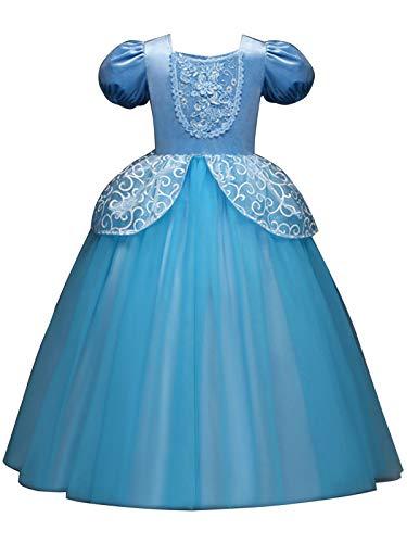 (FStory&Winyee Mädchen Prinzessin Kostüm Cinderella Kleid Kinder Karneval Verkleidung Party Weihnachten Fasching Cosplay Märchen Maxikleid Bodenlang Ballkleid Abendkleid Blau 110-150)