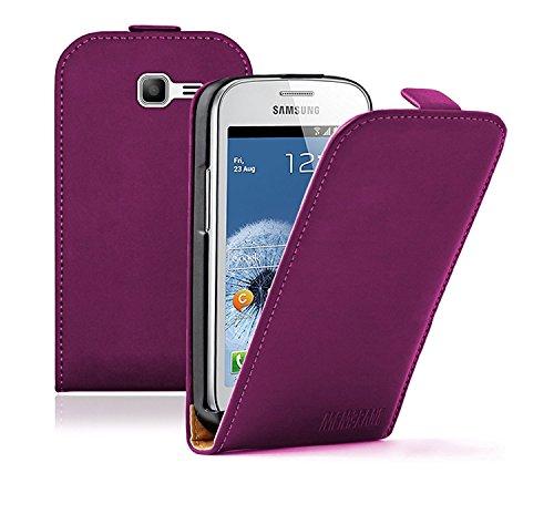 Membrane - Lila Klapptasche Hülle Samsung Galaxy Fresh (GT-S7390 / Trend Lite / S7392 Duos)- Flip Case Cover Schutzhülle + 2 Displayschutzfolie