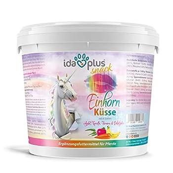 Ida Plus - Baiser de licorne 3 kg - Friandises pour chevaux - Avec vitamines et minéraux - Pomme, banane, carotte et eucalyptus - Délicieuses friandises pour chevaux et poneys dans un seau pratique