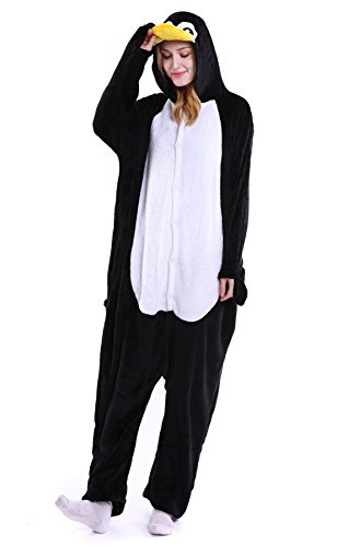 Unisex Erwachsene Pyjama Tier Onesie Jumpsuits Oberall Hausanzug Kigurum Fastnachtskostuem Schlafanzug Pinguin (Nase Pinguin Kostüm)