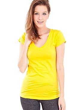 Efecto ropa mujer manga corta cuello en V camiseta, múltiples colores S-3X