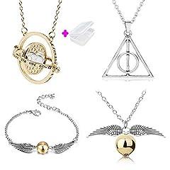 Idea Regalo - PPX 4 Pezzi Harry Potter Collana Set Time Turner Doni della Morte Boccino d'oro Collana e bracciali per Harry Potter Fans Collezione di regali o decorazioni Magici Cosplay Costume con Scatola