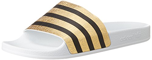Adidas Adilette W -  Sandali a Punta Aperta Donna, colore multicolore (goldmt/ftwwht/ftwwht), taglia 37 EU
