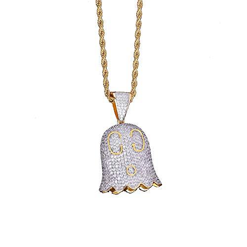 Ghost Emoji Kette Halskette Anhänger Gold Silber Farbe Iced Cubic Zirkon Männer Hip Hop Schmuck Mit Seil ()