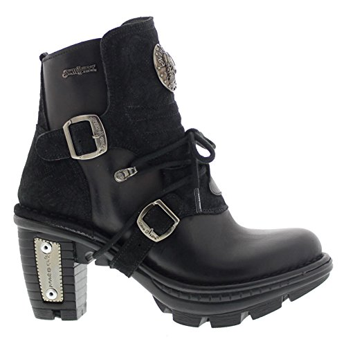 New Rock Womens M TR061 Neo Trail Gothic Black Leather Boots 40 EU