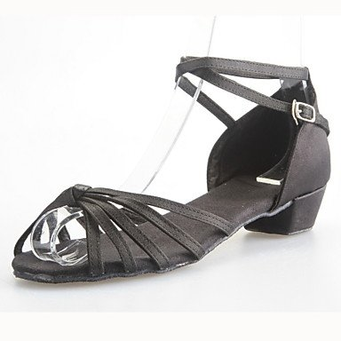 Silence @ Femme/enfants Chaussures de danse latine/salle de bal en satin Chunky Talon Noir noir