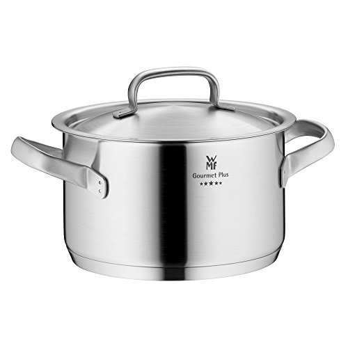 WMF cookware Ø 20 cm approx. 3,9l Gourmet Plus Inside scaling  vapor hole Made in Germany hollow side handles metal lid Cromargan stainless steel  suitable for all stove tops including induction dishwasher-safe