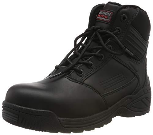 Tactical Stiefel, wasserfest, mit Zehenschutzkappe und seitlichem Reißverschluss, Mittelschnitt, S3 SRC, Sicherheits-Jogger Trooper, Schwarz, Größe 41 Composite Toe Tactical Boot