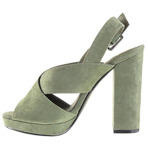 Angkorly Damen Schuhe Sandalen Mule - Plateauschuhe - Offen - String Tanga - Schleife Blockabsatz High Heel 12 cm Grüne