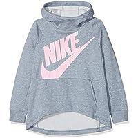 Nike G NSW Hoodie PO PE Sudadera, Niñas, (Ashen Slate/htr/Pink), L