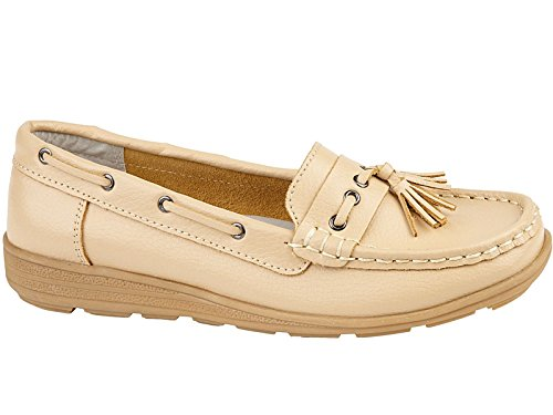 Scarpe da barca, da donna, in pelle, comode, misure 35,5-43 Beige