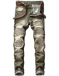 cfdda8cbe45ce Los Pantalones Vaqueros De Moda Masculina Pantalones Estiran Skinny Los  Vaqueros Flacos del Dril Ciclista Destruido del Ajustado De…