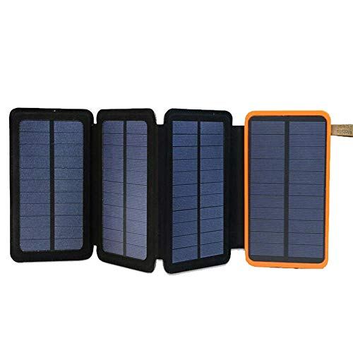 BUOP Solar Powerbank 10000mah wasserdichte Solar Ladegerät mit 2 USB-Ports Kompatibel 6w/8w für Mobilkommunikationsgeräte, Outdoor-Aktivitäten, Camping, Wandern,4solarpanels(8W)