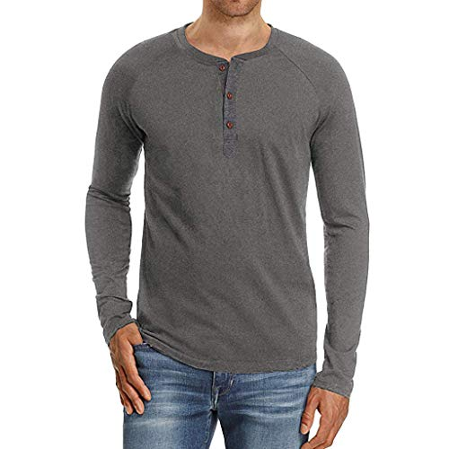 Modaworld uomo top slim fit t-shirt uomo, casual manica lunga magliette camicia in primavera e autonno camicetta solid color blouse top