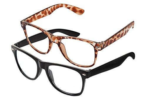 Boolavard® Nerd Sonnenbrille im Wayfarer Stil Retro Vintage Unisex Brille - 45 Modelle wählbar (Schwarz + Leopard-Druck Klar)